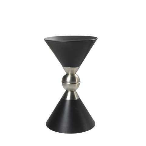 "Modern Black and Nickel Drum Side Table - 11"" x 20"""