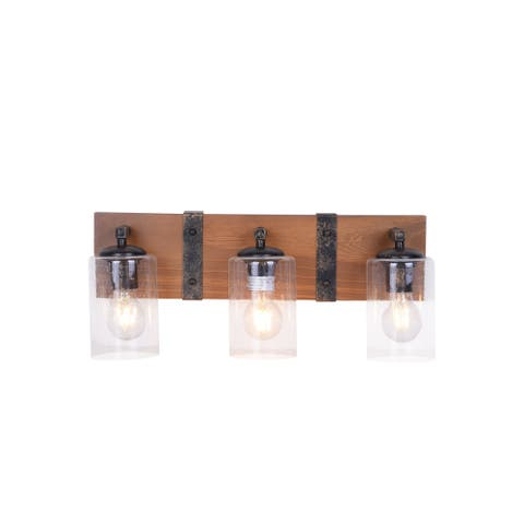Wood and Metal Rustic Farmhouse Bathroom Vanity Light Fixture