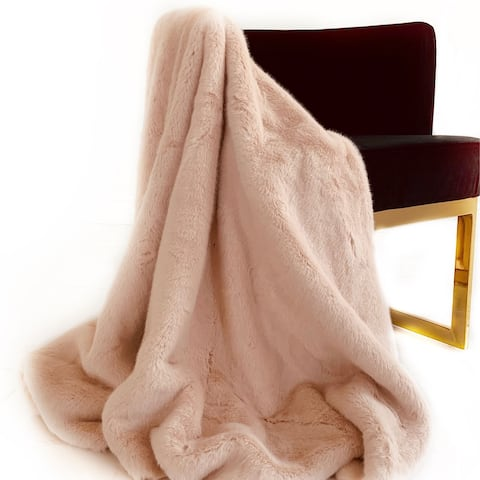 Plutus Pink Plush Faux Fur Luxury Throw Blanket