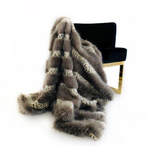 Plutus Gray Two Tone Feather Faux Fur Luxury Throw Blanket