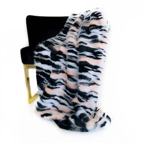 Plutus Black, White, Pink Fancy Faux Fur Luxury Throw Blanket