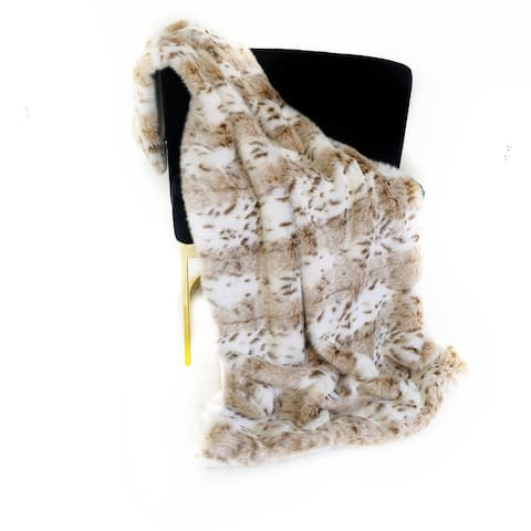Plutus Brown, Beige Leopard Fur Faux Fur Luxury Throw Blanket