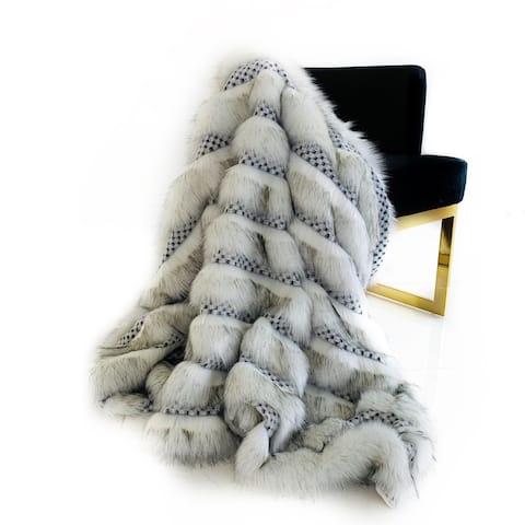 Plutus Off White Two Tone Feather Faux Fur Luxury Throw Blanket