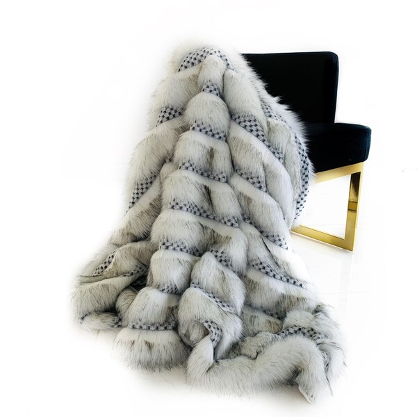 Plutus Off White Two Tone Feather Faux Fur Luxury Throw Blanket. Opens flyout.