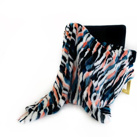 Plutus Black, Blue, Pink Unicorn Faux Fur Luxury Throw Blanket