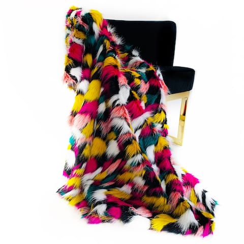 Plutus Purple, Yellow, Black Amazonian Bird Faux Fur Luxury Throw Blanket