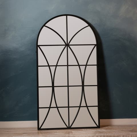 Luke Window Pane Wall Mirror Farmhouse Arched Black