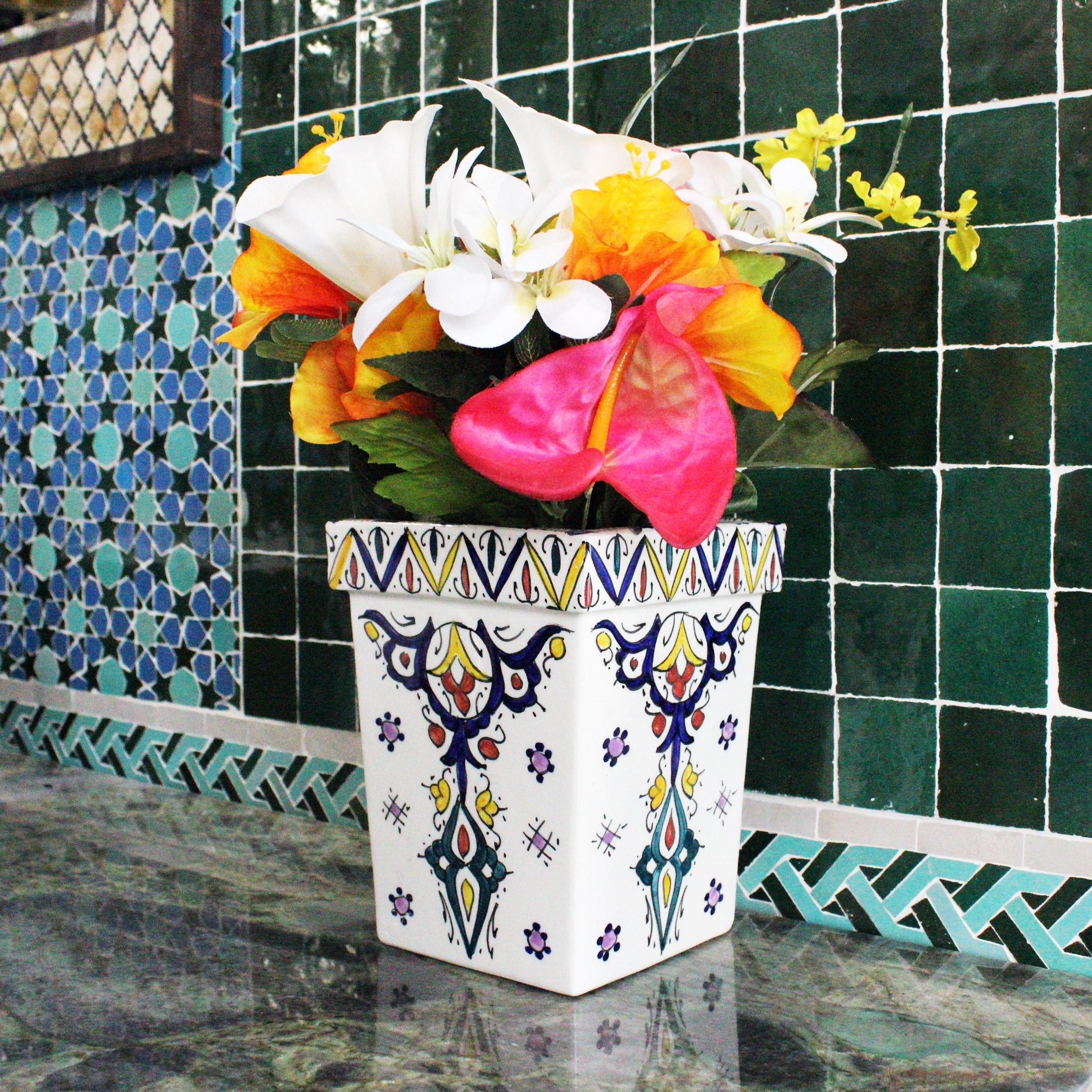 Handmade Moroccan Vase  with Vivid colors