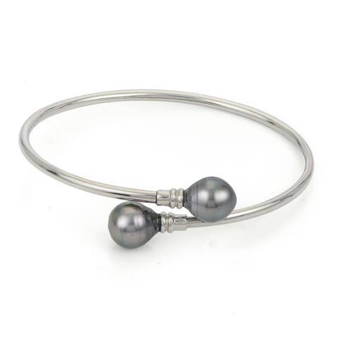 PearLustre by Imperial Sterling Silver Tahitian Pearl Flexible Cuff Bracelet