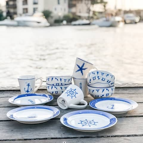 Euro Ceramica Ahoy Collection Blue/White Ceramic 12 Piece Nautical Dessert Set