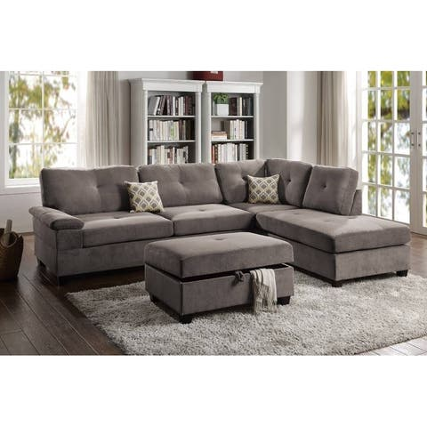 Wafffle Suede Reversible Sectional with Storage Ottoman