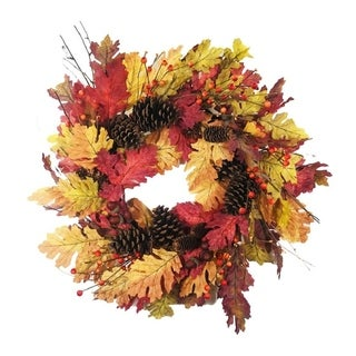 "Link to Oak Leaf Pine Cone Wreath 24"" Similar Items in Decorative Accessories"