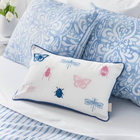 Martha Stewart Ellie Bugs and Butterflies Dec Pillow Cover