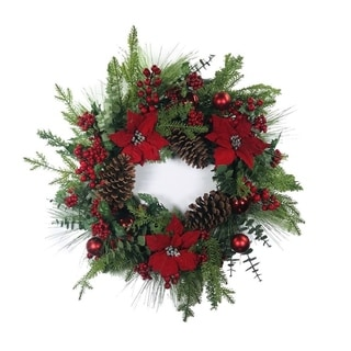 """Link to Poinsettia Pine Cone Berry Artificial Wreath 24"""" Similar Items in Christmas Decorations"""