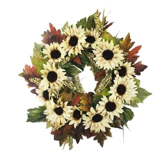 """Link to Sunflower Wreath Cream 24"""" Similar Items in Decorative Accessories"""