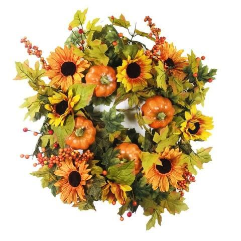 """Sunflower Pumpkin Wreath 24"""""""