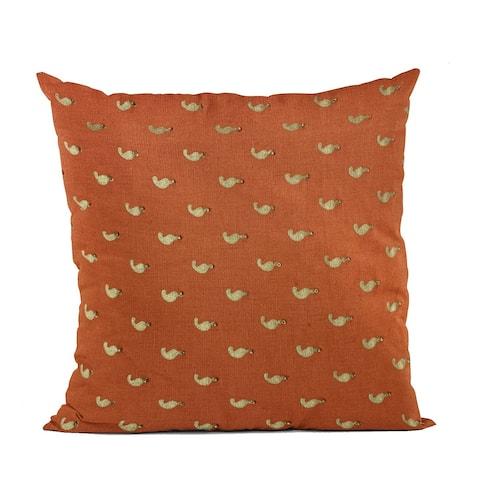 Plutus Red Beaded Motif Luxury Throw Pillow