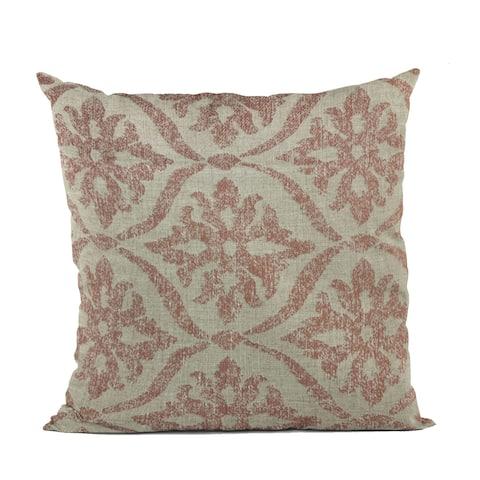 Plutus Beige, Red Flowers Jacquard Luxury Throw Pillow
