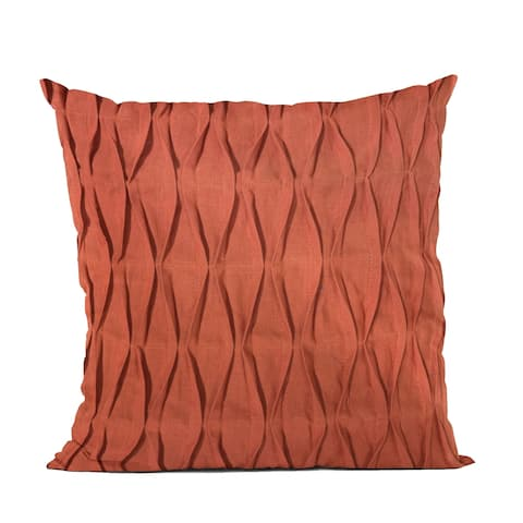Plutus Red Tucked Solid Color Luxury Throw Pillow