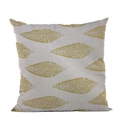 Plutus Green, Beige Large Leafs Floral Luxury Throw Pillow