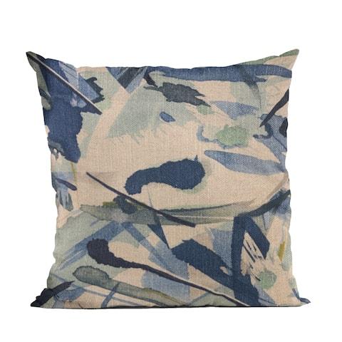 Plutus Blue Modern Art Graphic Print Luxury Throw Pillow