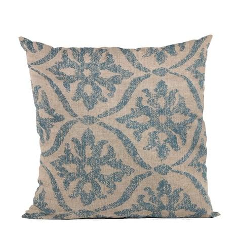 Plutus Blue Flowers Jacquard Luxury Throw Pillow