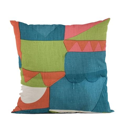 Plutus Blue Dino Graphic Print Luxury Throw Pillow