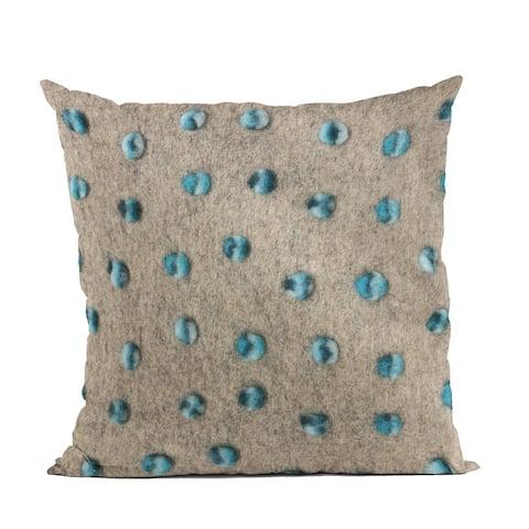 Plutus Blue Wool Dot Luxury Throw Pillow