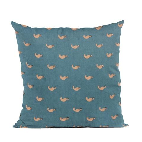 Plutus Blue Beaded Motif Luxury Throw Pillow