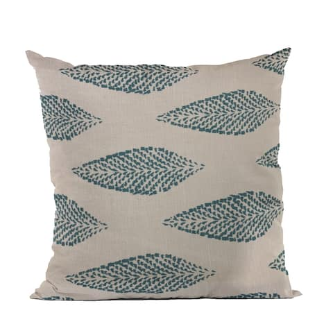 Plutus Blue Large Leafs Floral Luxury Throw Pillow
