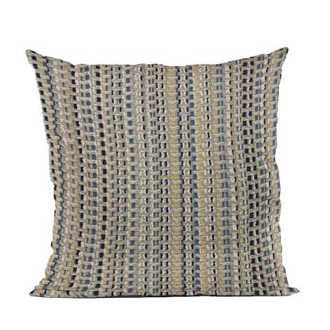 Plutus Blue Weave Stripe Luxury Throw Pillow