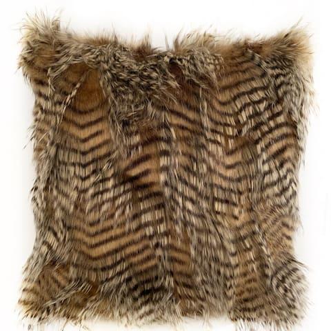 Plutus Brown and Grey Porcupine Animal Faux Fur Luxury Throw Pillow