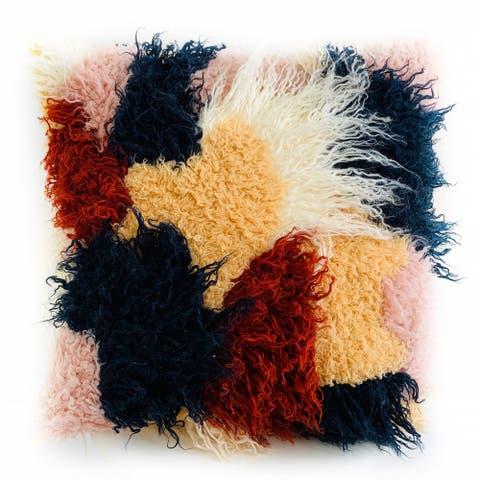 Plutus Red, White, Blue Fanciful Boho Animal Faux Fur Luxury Throw Pillow