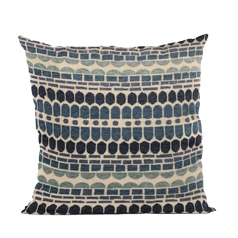 Plutus Blue Harmony Border Luxury Throw Pillow