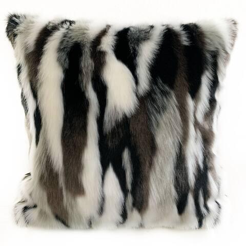 Plutus Black, White Zebra Animal Faux Fur Luxury Throw Pillow