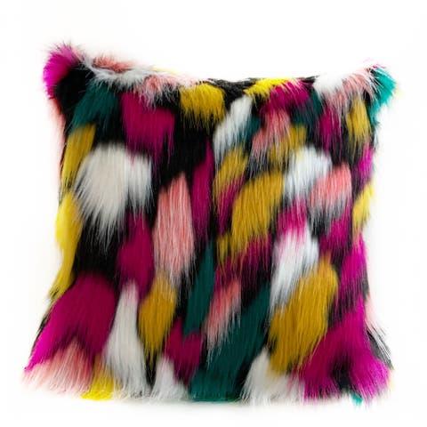 Plutus Purple, Yellow, Black Amazonian Bird Animal Faux Fur Luxury Throw Pillow