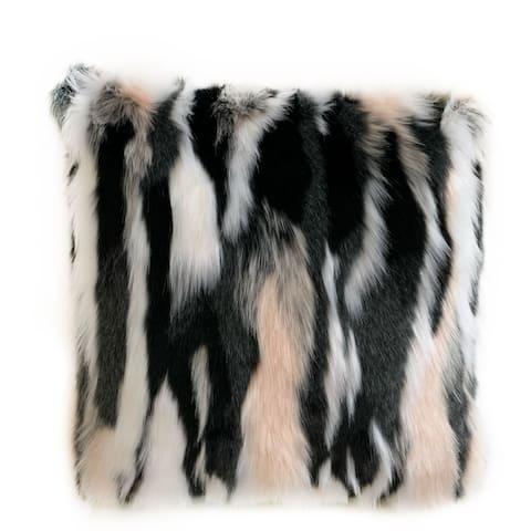 Plutus Black, White, Pink Fancy Animal Faux Fur Luxury Throw Pillow