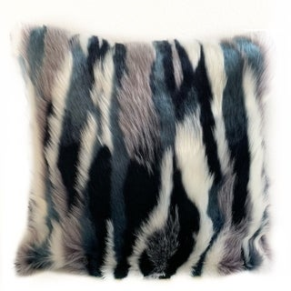 Link to Plutus Blue, Black, White Fancy Animal Faux Fur Luxury Throw Pillow Similar Items in Decorative Accessories