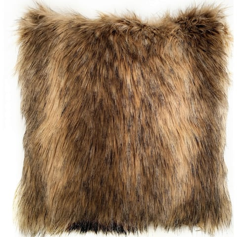 Plutus Light & Dark Brown Mountain Coyote Animal Faux Fur Luxury Throw Pillow