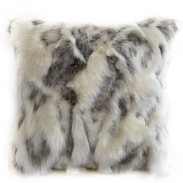 Plutus Ivory,Gray Ivory Rabbit Fur Animal Faux Fur Luxury Throw Pillow. Opens flyout.