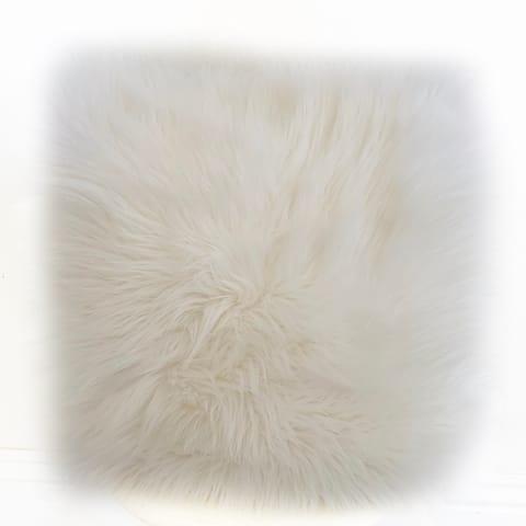 Plutus Off White Mongolian Fur Off White Animal Faux Fur Luxury Throw Pillow