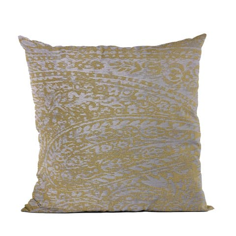 Plutus Yellow Golden Leaf Jacquard Luxury Throw Pillow