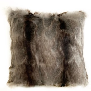 Link to Plutus Gray,Charcoal,Black Brandy Grey Fox Animal Faux Fur Luxury Throw Pillow Similar Items in Decorative Accessories