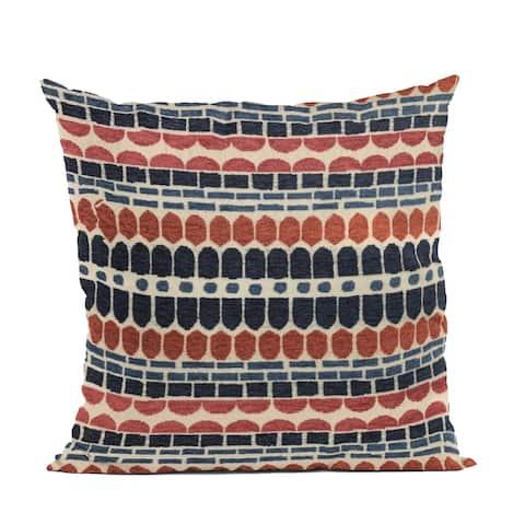 Plutus Red, Blue Harmony Border Luxury Throw Pillow