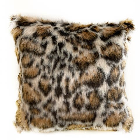 Plutus Brown Tiger Animal Faux Fur Luxury Throw Pillow