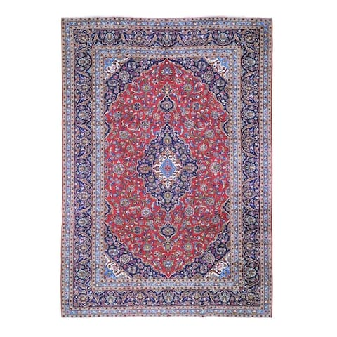 "Shahbanu Rugs Red Semi Antique Persian Kashan Full Pile Pure Wool Hand Knotted Oriental Rug (9'10"" x 13'1"") - 9'10"" x 13'1"""