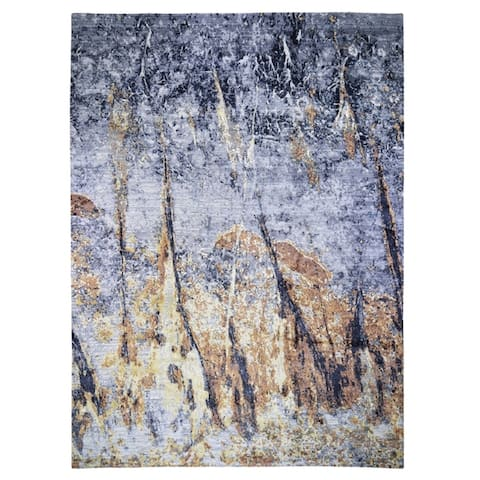 """Shahbanu Rugs Gold Abstract Design Wool and Silk hand Knotted Oriental Rug (10'0"""" x 14'0"""") - 10'0"""" x 14'0"""""""