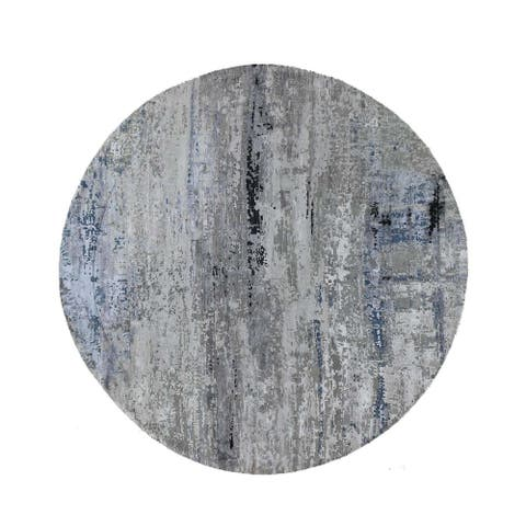 """Shahbanu Rugs Gray Hi low Pile Abstract Design Round Wool And Silk Hand Knotted Oriental Rug (9'10"""" x 9'10"""") - 9'10"""" x 9'10"""""""