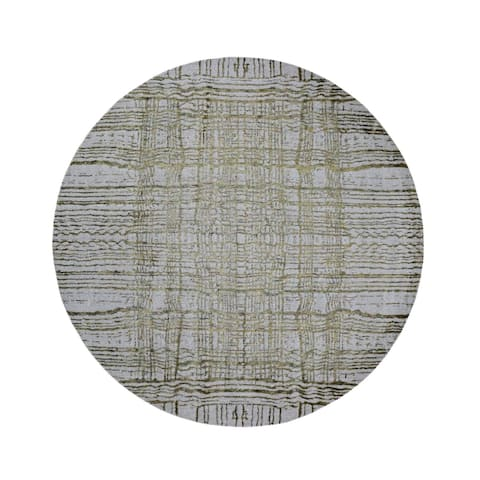 "Shahbanu Rugs Round Fine jacquard Hand Loomed Modern Wool And Silk Oriental Rug (7'9"" x 7'9"") - 7'9"" x 7'9"""