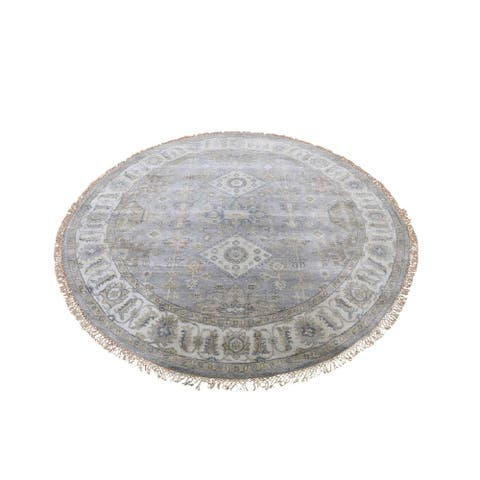 "Shahbanu Rugs Gray Karajeh Design Pure Wool Hand-Knotted Round Oriental Rug (6'0"" x 6'0"") - 6'0"" x 6'0"""